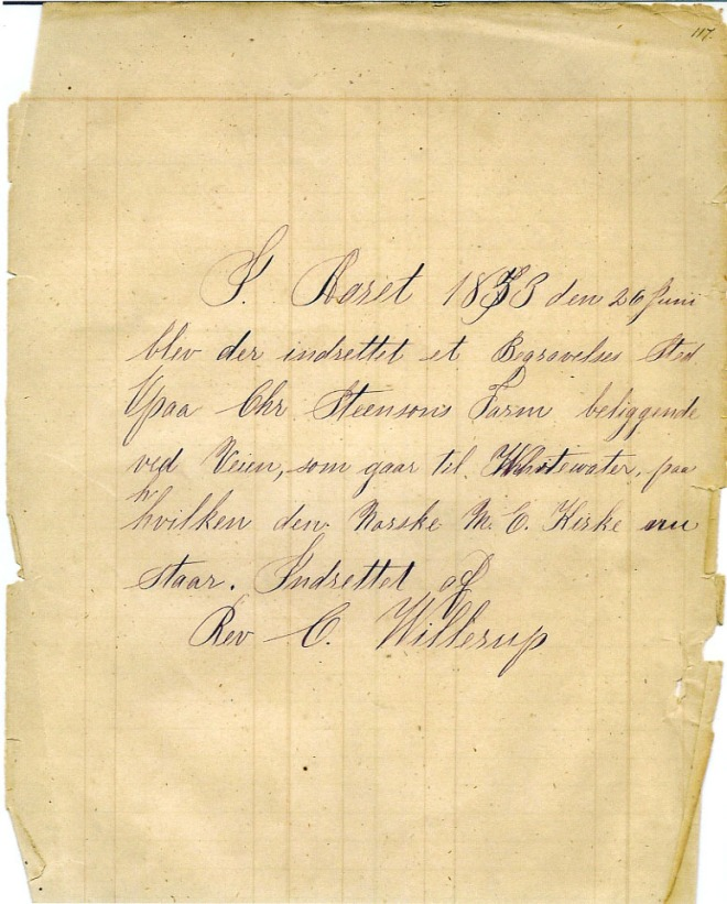 Cemetery Founding - Reverend C. Willerup
