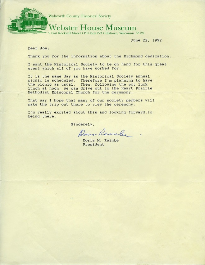 Letter from Doris M Rienke