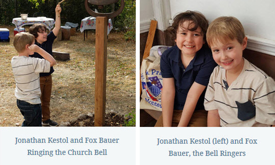 Two photos of Jonathan Kestol and Fox Bauer ringing the church bell